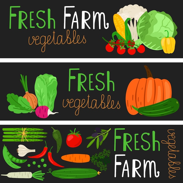 Banners de legumes dos desenhos animados Vetor Premium