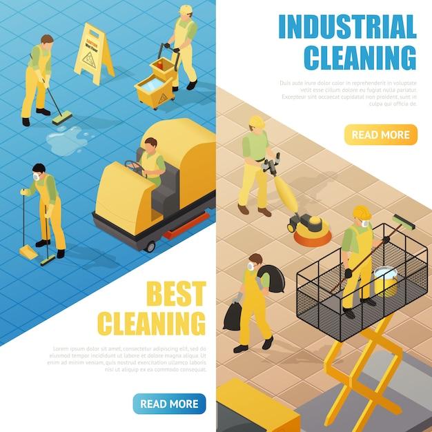 Banners de limpeza industrial Vetor grátis
