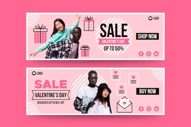 Banners de liquidação do dia dos namorados com foto Vetor grátis