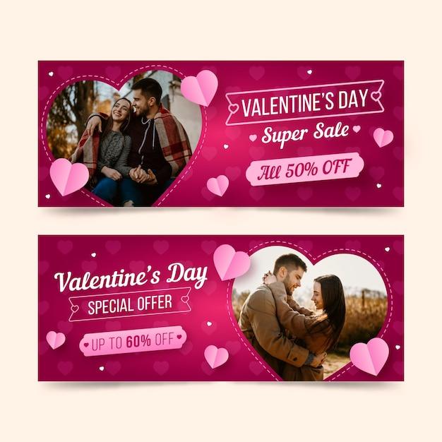 Banners de liquidação do dia dos namorados com oferta especial Vetor grátis