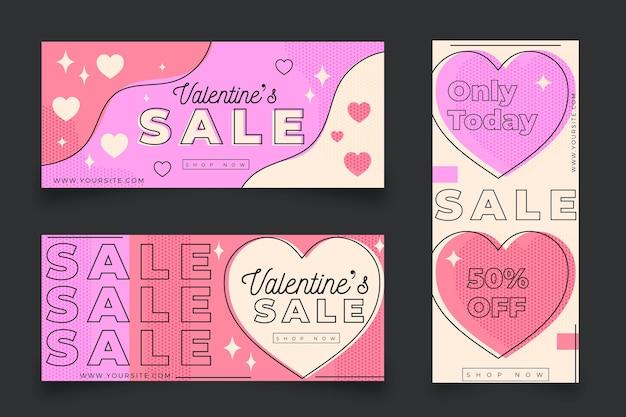 Banners de liquidação do dia dos namorados com oferta Vetor grátis