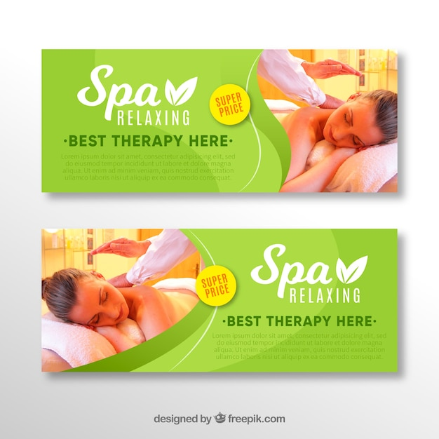 Banners de loja de spa com uma foto Vetor grátis