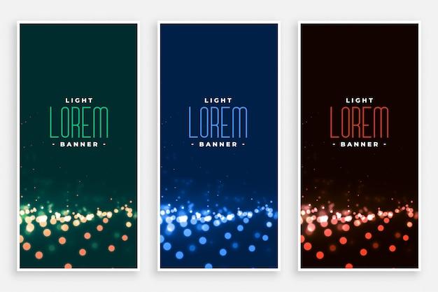 Banners de luzes lindo bokeh definido Vetor grátis