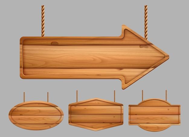 Banners de madeira. sinal de propaganda realista placas textura vintage do modelo de madeira. textura de moldura de madeira, ilustração de placa de madeira Vetor Premium