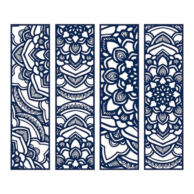 Banners de mandala azul Vetor Premium