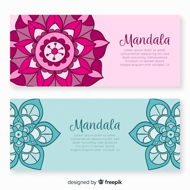 Banners de mandala decorativa de mão desenhada Vetor grátis