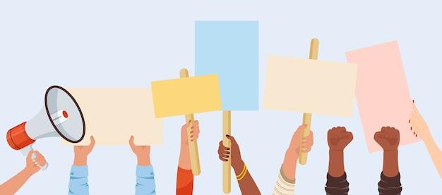 Banners de manifestantes. cartaz de sinal de manifestação segura na mão. pessoas contra a violência, poluição, discriminação, violação dos direitos humanos. Vetor Premium