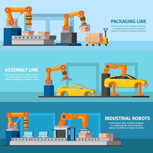 Banners de manufatura automatizada industrial Vetor grátis