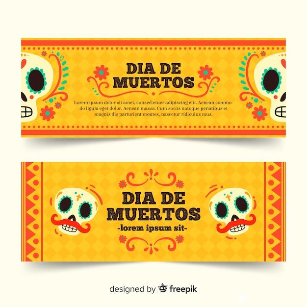 Banners de mão desenhada dia de muertos Vetor grátis