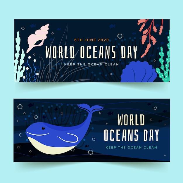 Banners de mão desenhada oceanos dia Vetor grátis