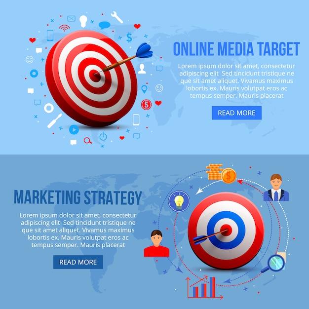 Banners de marketing de segmentação realista Vetor grátis