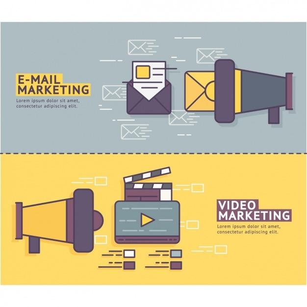 Banners de marketing definida Vetor grátis