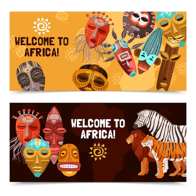 Banners de máscaras tribais étnicas africanas Vetor grátis