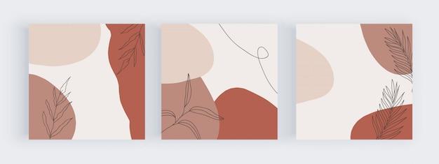 Banners de mídia social à mão livre com desenho geométrico abstrato com cores rosa, marrons e nuas pintados à mão formas, folhas e linhas. Vetor Premium
