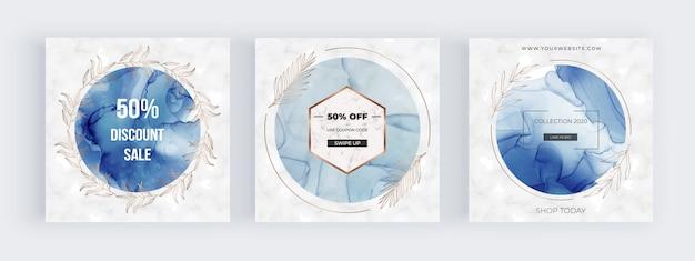 Banners de mídia social com quadros de círculo azul com textura de tinta de álcool e folhas botânicas de mão desenhada Vetor Premium