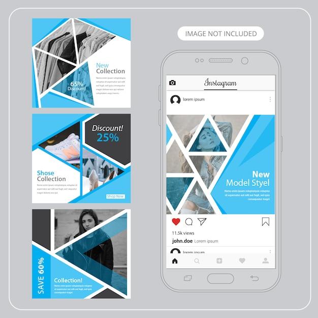 Banners de mídia social de moda para marketing digital Vetor Premium