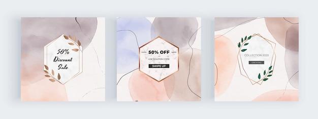 Banners de mídia social em aquarela à mão livre com formas geométricas pintadas à mão com molduras de mármore Vetor Premium