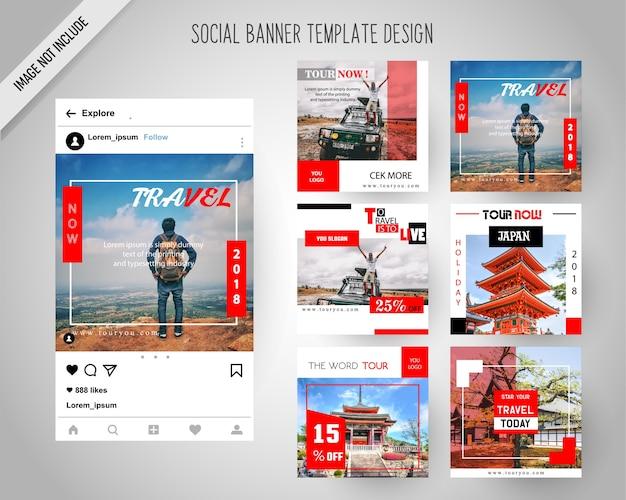 Banners de mídia social em viagem para marketing digital Vetor Premium