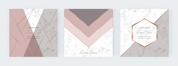 Banners de mídia social geométrica com formas de triângulos nus, cinza e linhas de ouro sobre a textura de mármore. Vetor Premium
