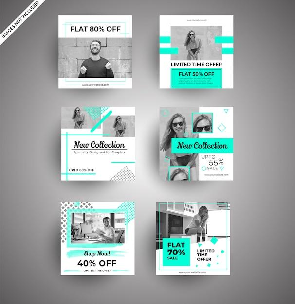 Banners de mídia social para marketing digital Vetor Premium