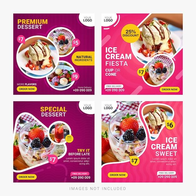 Banners de mídias sociais de comida postar modelo conjunto Vetor Premium