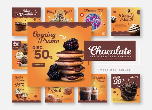 Banners de modelo de mídia social de comida e restaurante de chocolate Vetor Premium