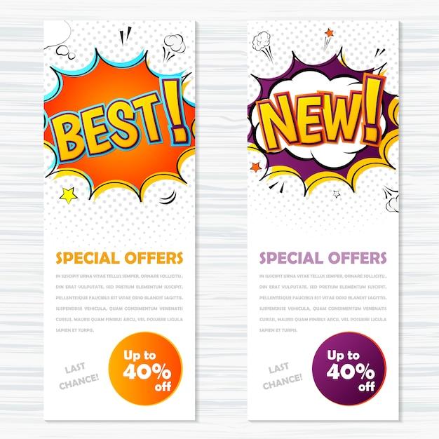Banners de modelos de vetor em estilo cômico, arte pop. melhores e novas ofertas especiais Vetor Premium