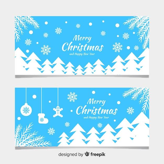 Banners de natal com design plano Vetor grátis