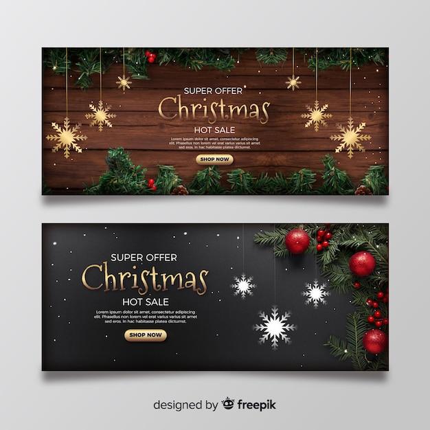 Banners de natal com foto Vetor grátis
