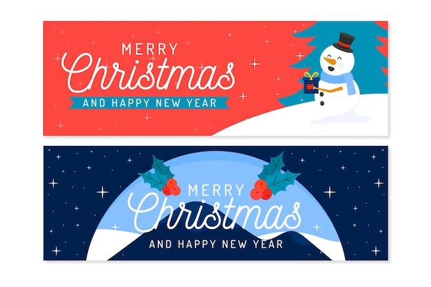 Banners de natal em design plano Vetor grátis