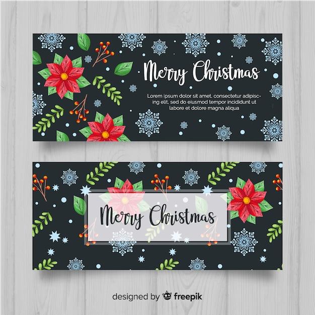 Banners de natal linda aquarela Vetor grátis
