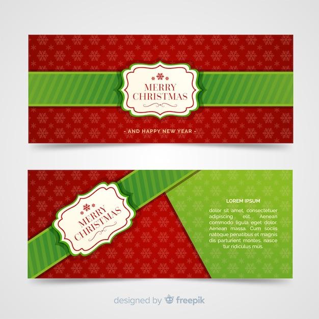 Banners de natal linda em design plano Vetor grátis