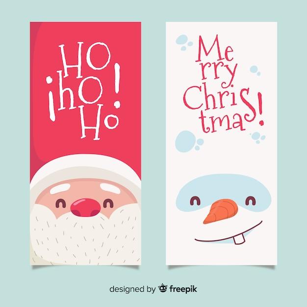 Banners de natal linda mão desenhada Vetor grátis