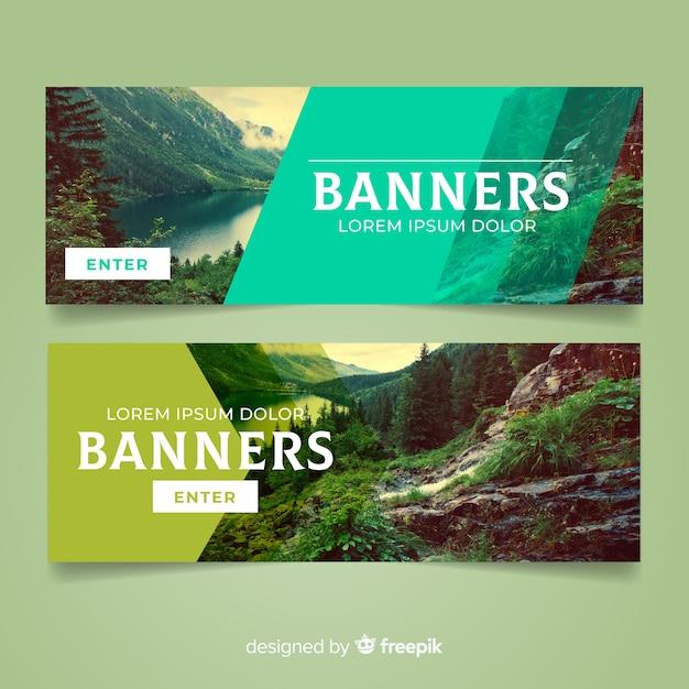 Banners de natureza moderna com foto Vetor grátis