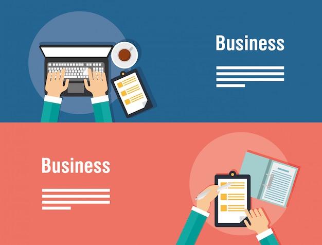 Banners de negócios com computador portátil e ícones Vetor Premium