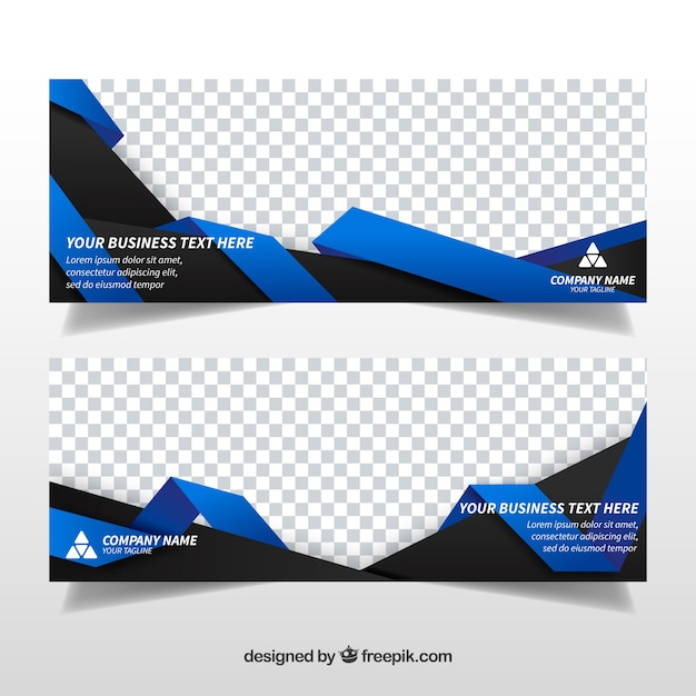 Banners de negócios de formas abstratas Vetor grátis