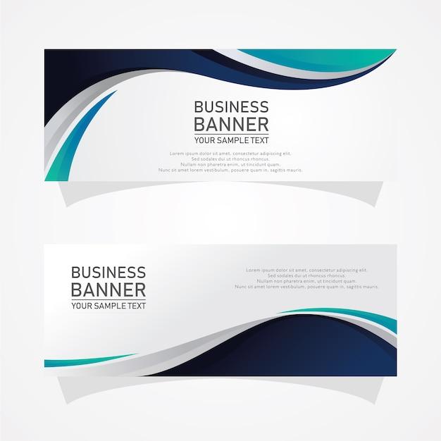 Banners de negócios de formas abstratas Vetor Premium
