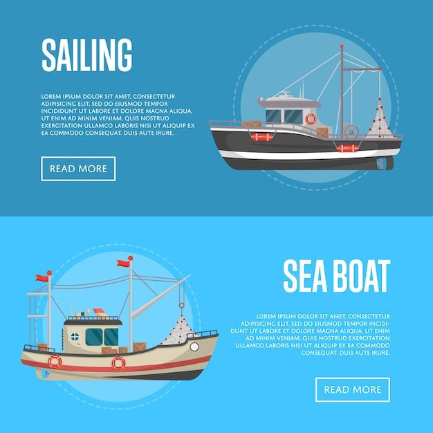 Banners de negócios de pesca com pequenos barcos do mar Vetor Premium