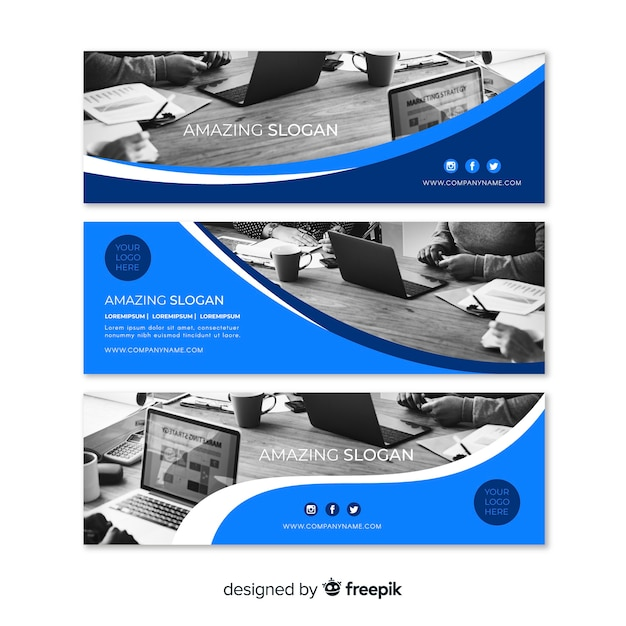 Banners de negócios modernos com foto Vetor grátis