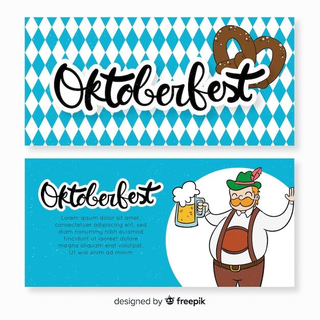 Banners de oktoberfest azul e branco Vetor grátis
