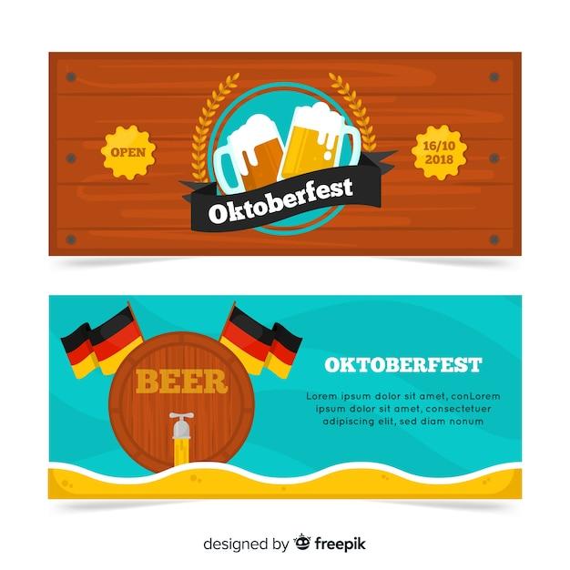 Banners de oktoberfest modernos com design liso Vetor grátis