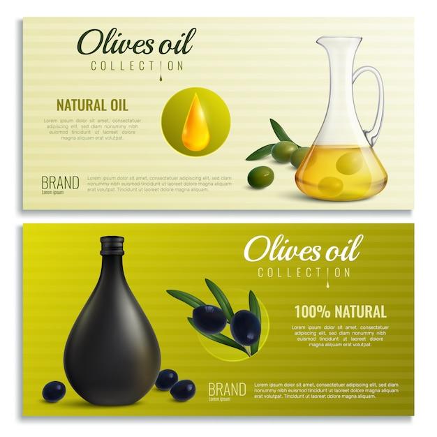 Banners de óleo de azeitonas realistas Vetor grátis