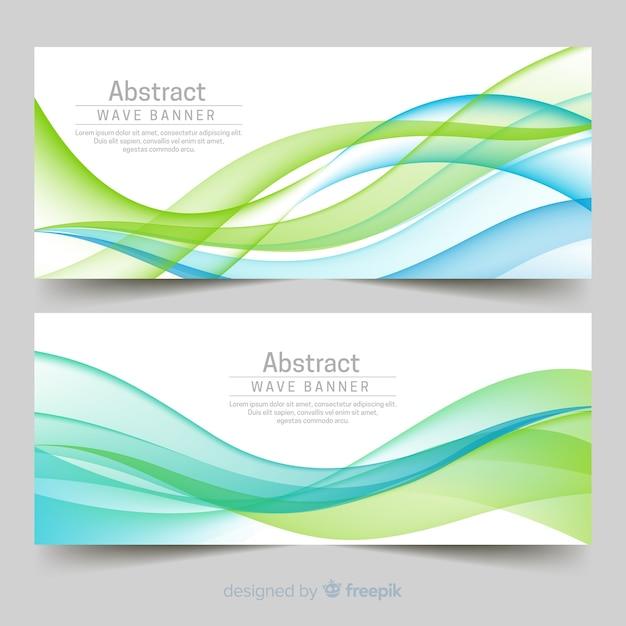 Banners de ondas abstratas Vetor grátis