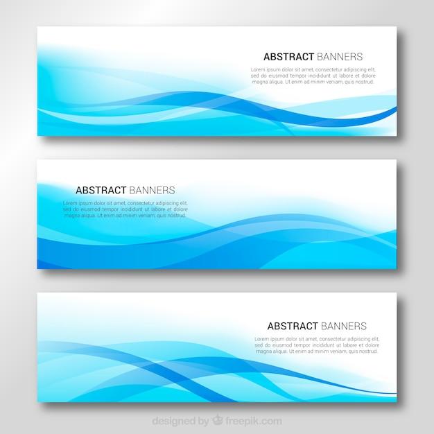 Banners de ondas azuis Vetor grátis