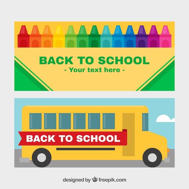 Banners de ônibus escolar e pastéis Vetor grátis