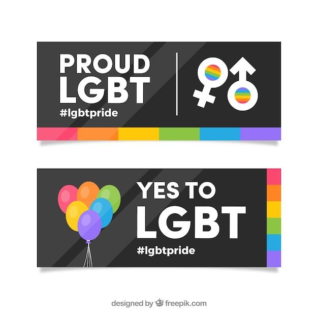 Banners de orgulho lgbt em estilo simples Vetor grátis