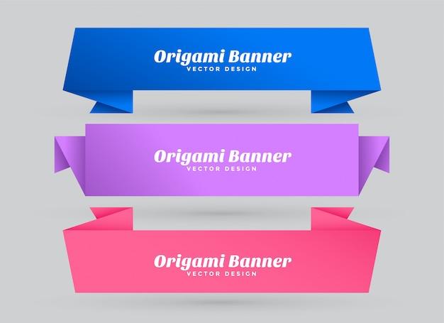 Banners de origami abstrato conjunto com espaço de texto Vetor grátis