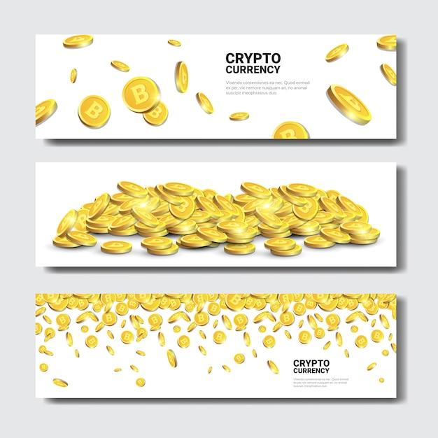 Banners de ouro bitcoins Vetor Premium
