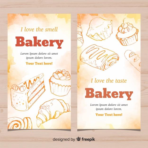 Banners de padaria desenhada de mão Vetor grátis