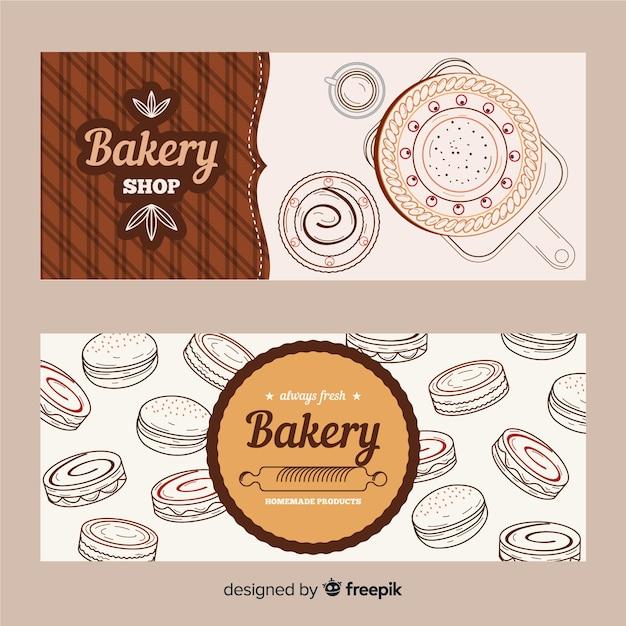 Banners de padaria desenhada mão realista Vetor grátis